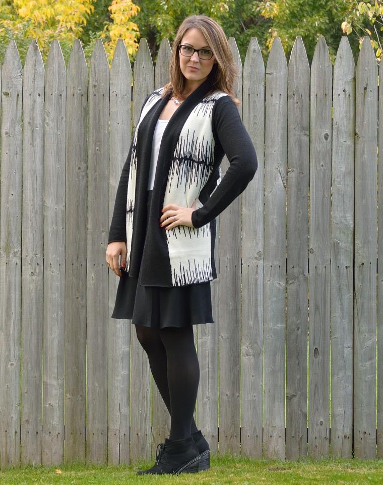 black skirt open sweater