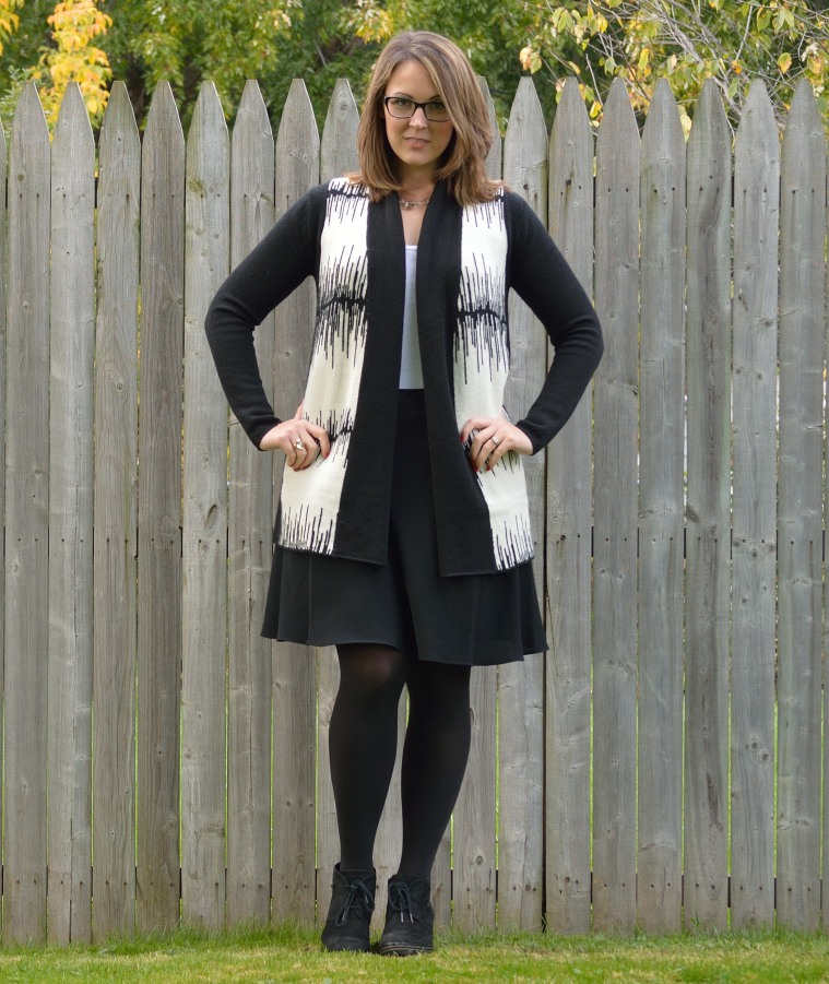 black skirt with open sweater