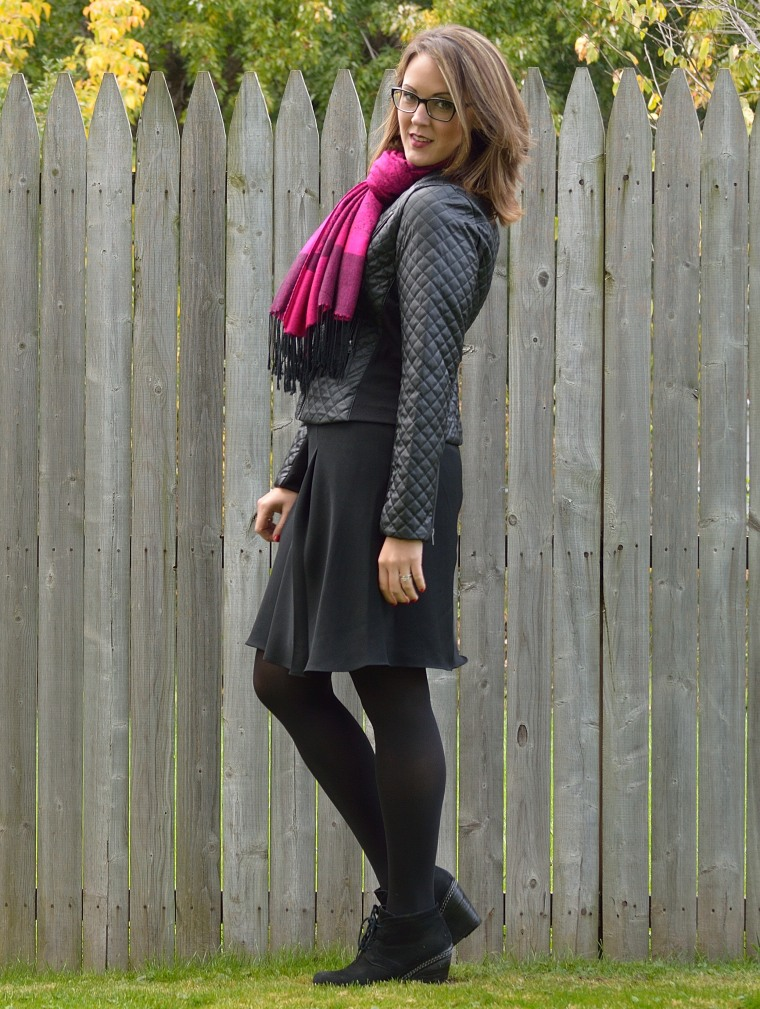 quilted jacket with scarf