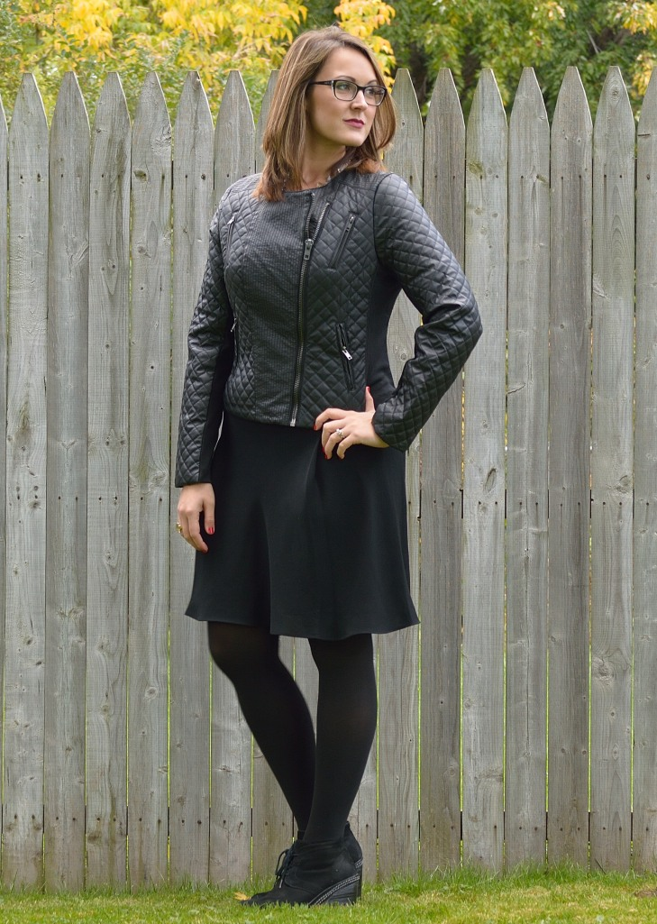quilted jacket with tights